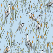 Inprint Town & Country - 3697 - Herons in Rushes - Light Blue - 7871 B20 - Cotton Fabric